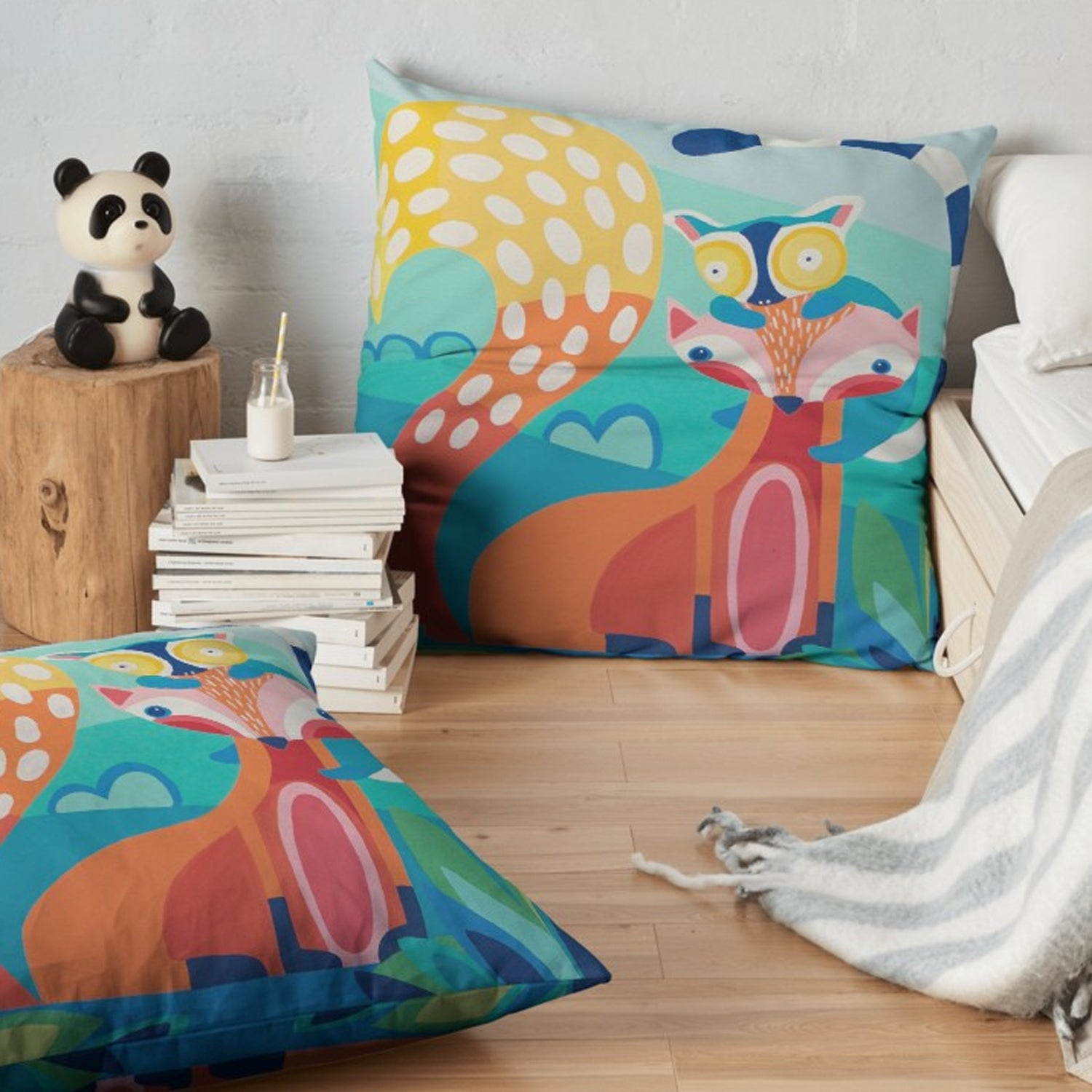 Throw Pillow, 'Pals, Fox & Lemur' with Background