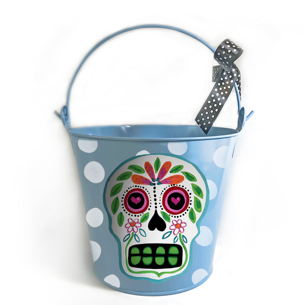 PAIL, Halloween 'Sugar Skull' Pail on Blue Bucket