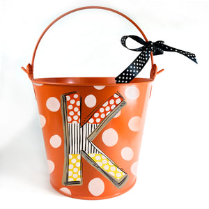Halloween 'Candy Corn' Initial on Orange Pail