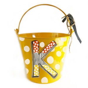 Halloween 'Candy Corn' Initial Pail on Yellow Pail