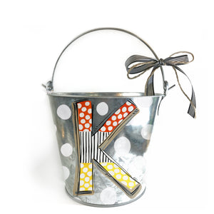 Halloween 'Candy Corn' Initial Pail on Silver Pail