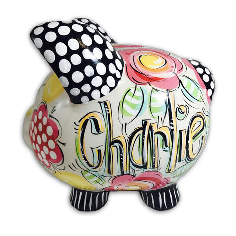 ' Hot Pink, Black and Yellow, Floral Piggy Bank