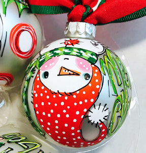 ORNAMENT, PERSONALIZED UPSIDE DOWN SNOWMAN Ornament