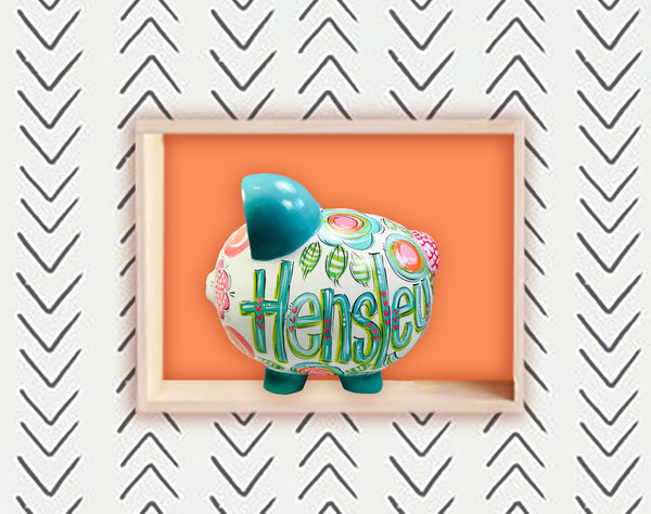 PIGGY BANK (Ceramic), Teal, Blue, Green And Pink Personalized Piggy Bank for Girls