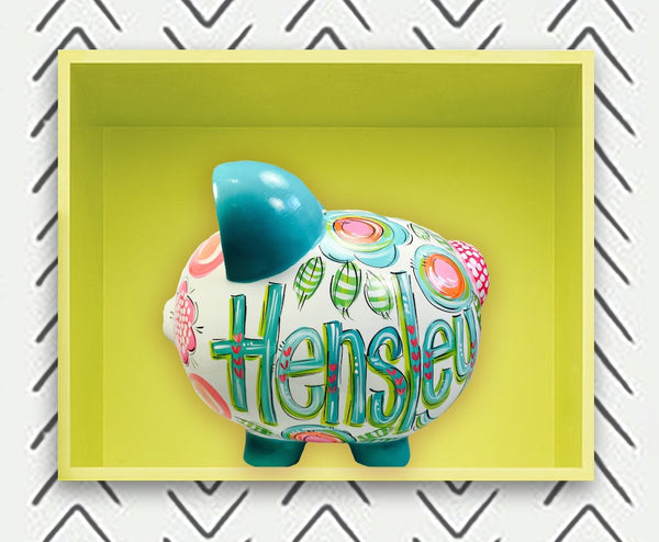 Teal, Blue, Green And Pink Personalized Piggy Bank for Girls