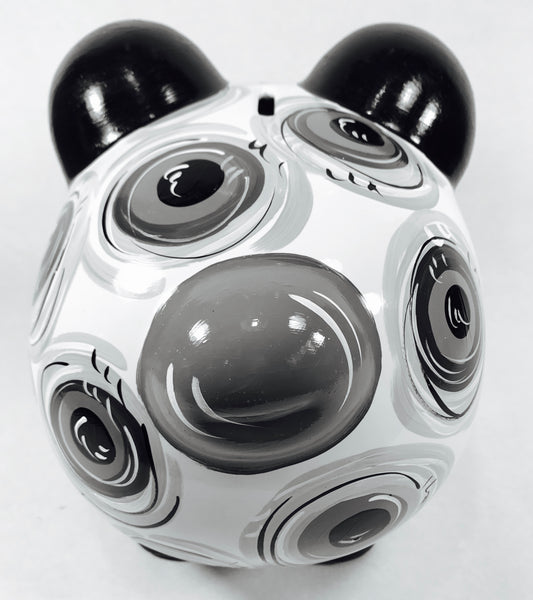 PIGGY BANK (Ceramic), Piggy Bank, Black & Gray 'DOTS', Personalized, Piggy Bank for Boy