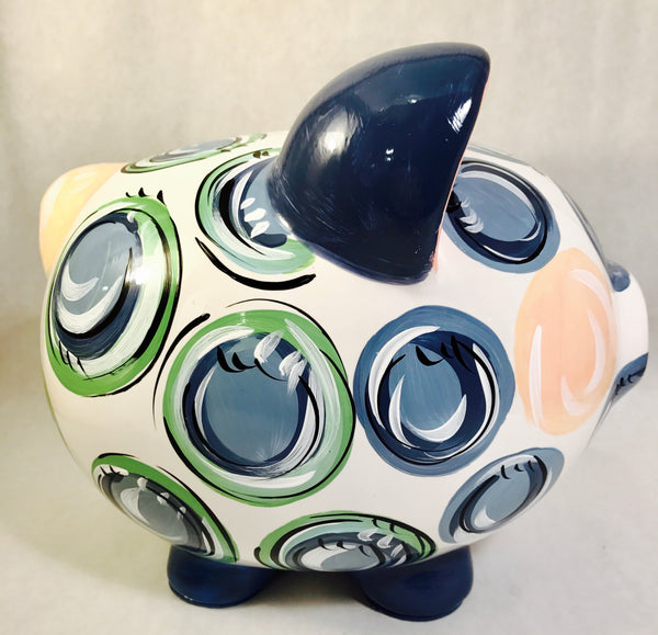 PIGGY BANK (Ceramic), Navy, Green & Gray 'DOTS', Personalized, Sweet Boy Bank
