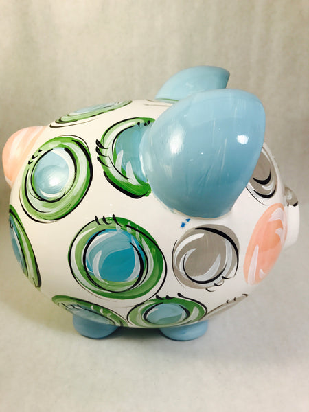 Pastel Blue, Green & Gray 'DOTS', Personalized, Ceramic Piggy Bank for Boy