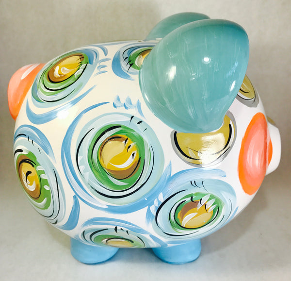 Sea foam Blue, Green, Brown & Gold 'DOTS', Personalized, Ceramic Piggy Bank for Boy