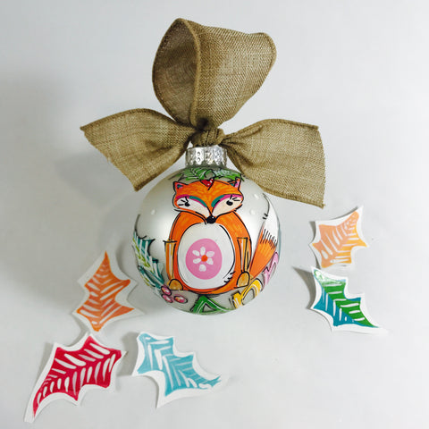 Personalized fox, keepsake Christmas ornament