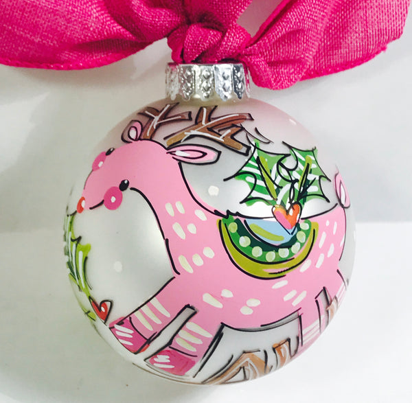 PERSONALIZED PINK DEER Ornament