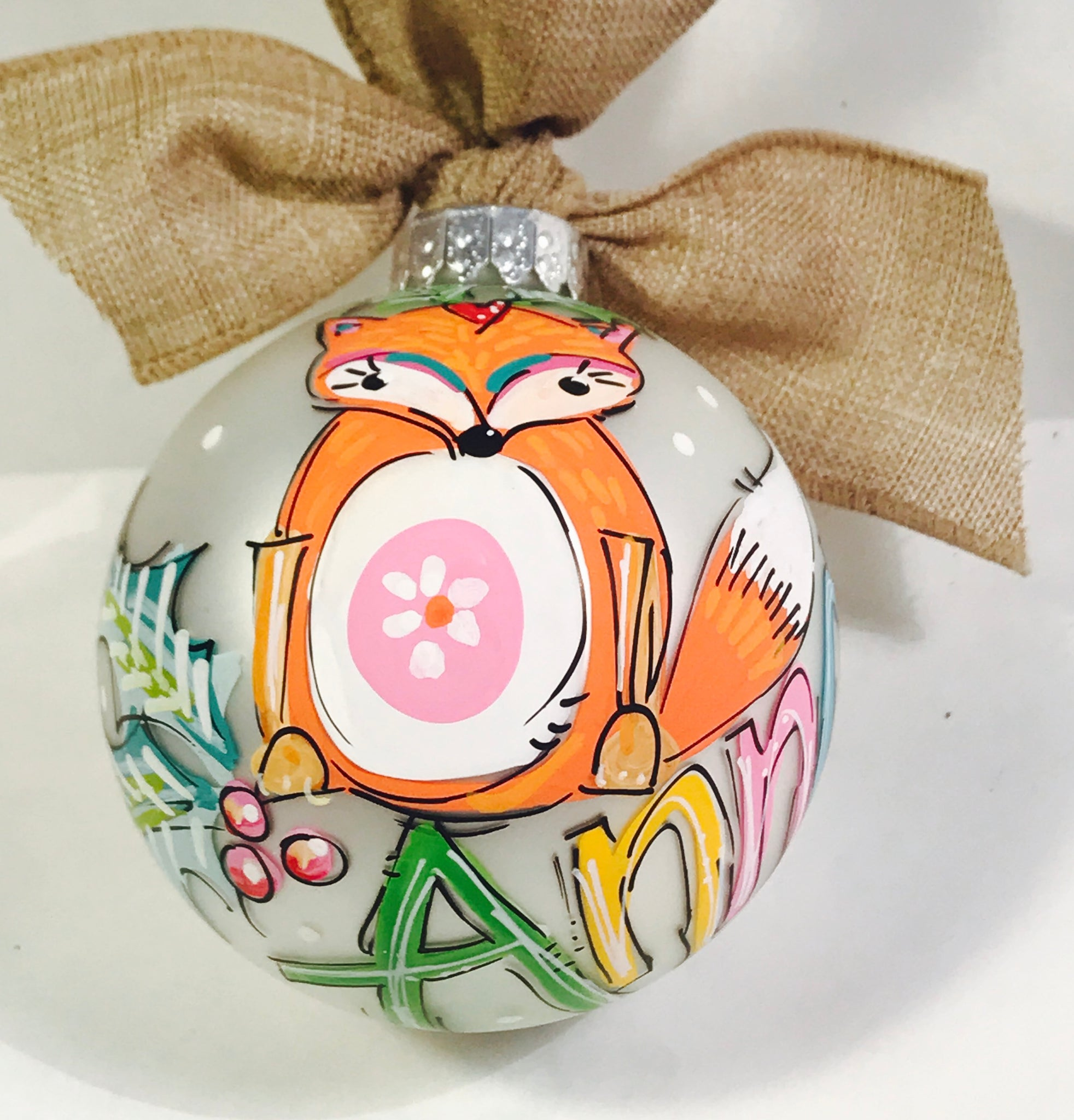 ORNAMENT, PERSONALIZED FOX Ornament