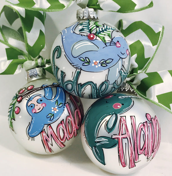 ORNAMENT, PERSONALIZED SLOTH Ornament