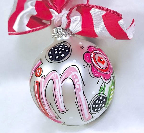 ORNAMENT, FLORAL Hot Pink & Black Ornament