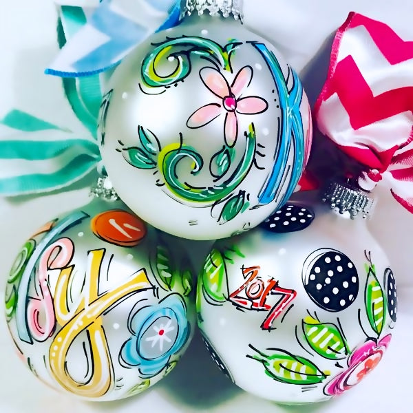 ORNAMENT, PERSONALIZED FLORAL Ornament