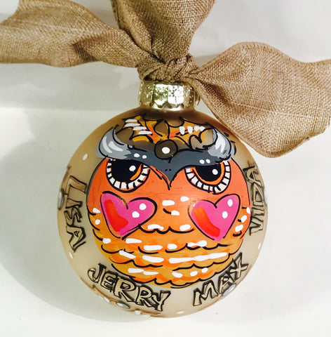 ORNAMENT, PERSONALIZED WOODLAND OWL Ornament