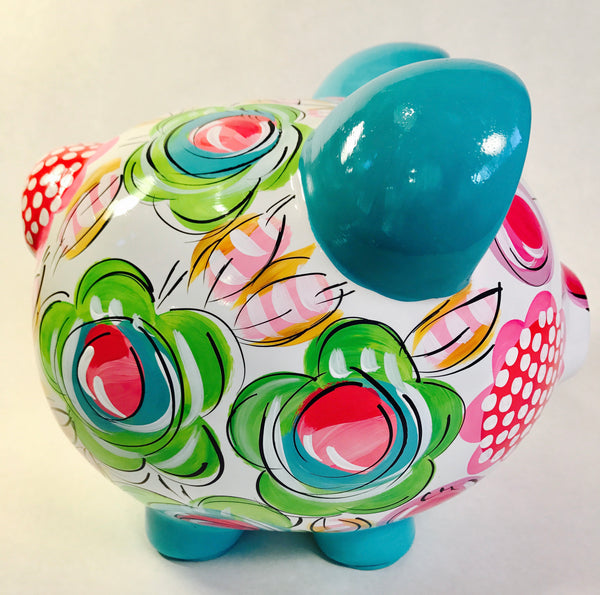 PIGGY BANK (Ceramic), Green, Hot Pink, Blue & Orange 'FLORAL & DOT'