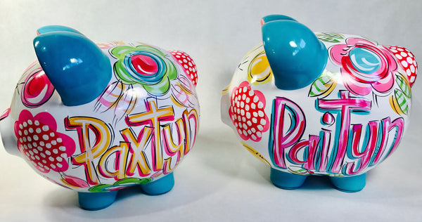 'FLORAL & DOT' Hot Pink Floral Piggy Bank