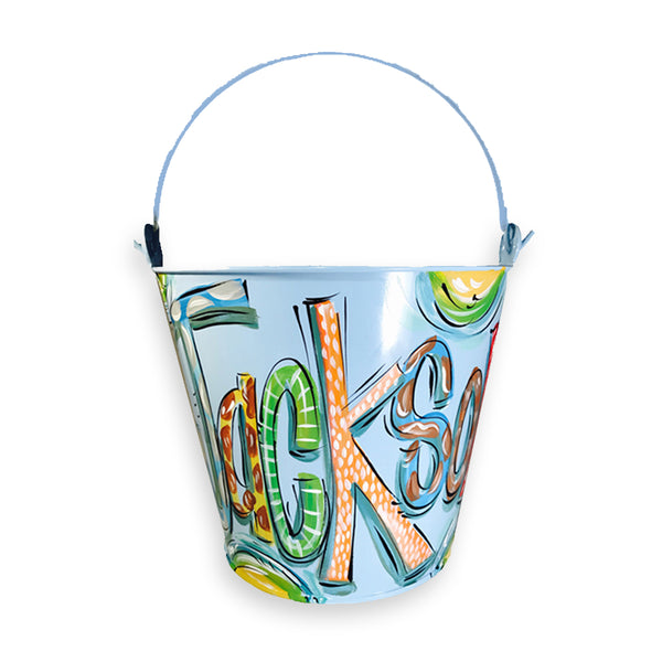Blue, Hand Painted Bucket, Personalized Pail