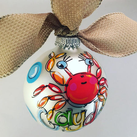 Crab ornament, personalized crab ornament, hand painted crab ornament