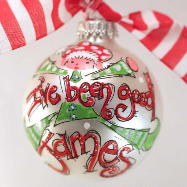 I've been good elf ornament, personalized elf ornament for girls or boys, monogrammed elf ornament