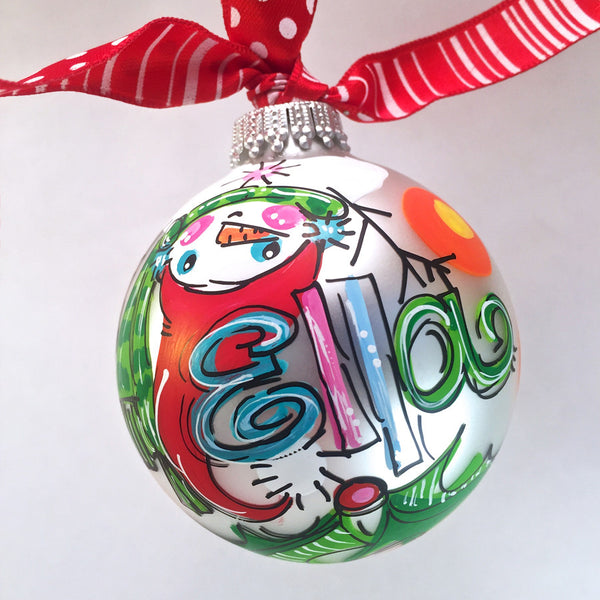PERSONALIZED SNOWMAN (upside down) Ornament