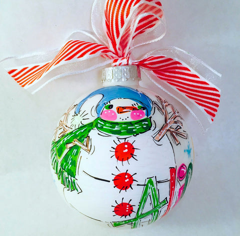 ORNAMENT, Snowman Ornament, personalized and hand-painted