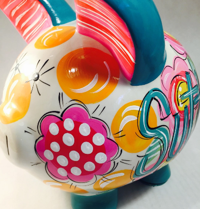 PIGGY BANK (Ceramic), Teal, Pink & Yellow FLORAL & DOT, Personalized