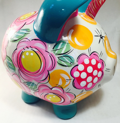 Teal, Pink & Yellow FLORAL & DOT, Personalized Ceramic Piggy Bank