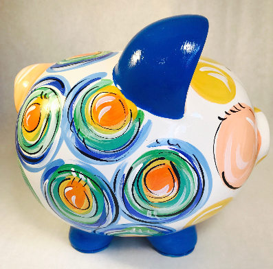 PIGGY BANK (Ceramic), Primary 'DOTS', Personalized, Piggy Bank for Boy