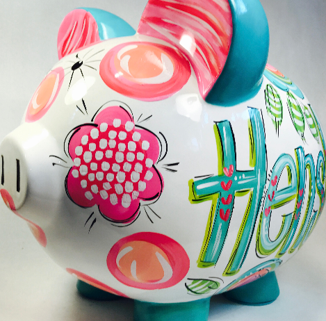 Teal, Blue & Pink Floral Piggy Bank, Personalized Ceramic Piggy Bank