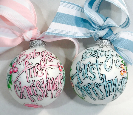 ORNAMENT, PERSONALIZED BABY'S FIRST Christmas BLUE Ornament