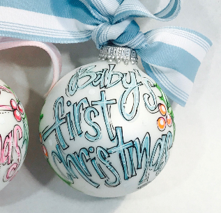 PERSONALIZED BABY'S FIRST Christmas BLUE Ornament