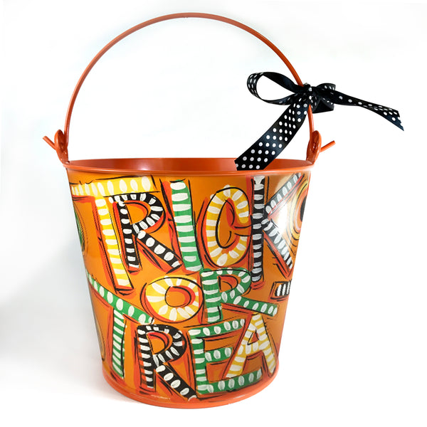 PAIL, Halloween Trick-Or-Treat' Pail on Orange Bucket