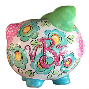 PIGGY BANK (Ceramic), FLORAL & DOT
