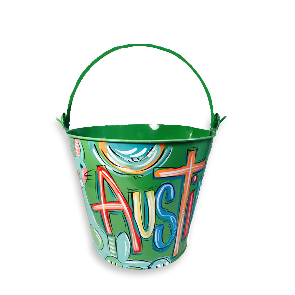 GREEN with Blur Bunny, Hand Painted Bucket, Personalized Pail