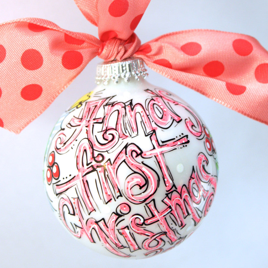 ORNAMENT, PERSONALIZED BABY'S FIRST Christmas PINK ...