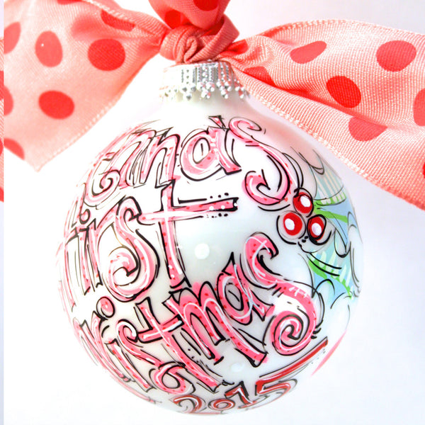 ORNAMENT, PERSONALIZED BABY'S FIRST Christmas PINK Ornament