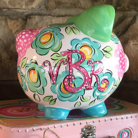 FLORAL & DOT CERAMIC PIGGY BANK