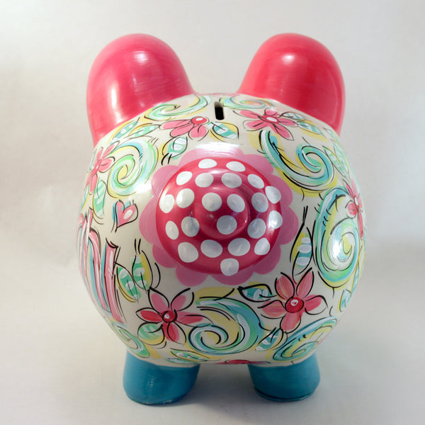 Petit Floral, Personalized, Ceramic Piggy Bank for Girls