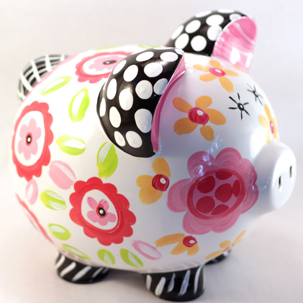 PIGGY BANK (Ceramic), Hot Pink, Black & Yellow FLORAL & DOT