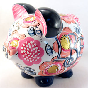 Piggy Bank for girls, Personalized Ceramic Piggy Bank. Navy, Coral, Pink & Gold