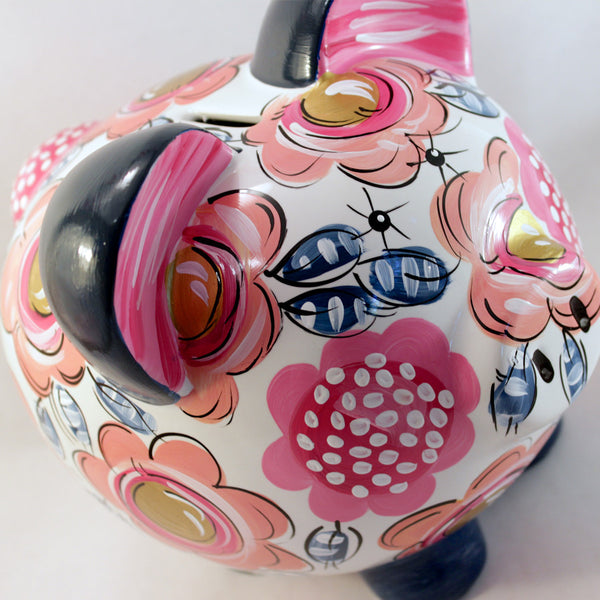 PIGGY BANK (Ceramic), Navy, Coral, Pink and Gold Floral