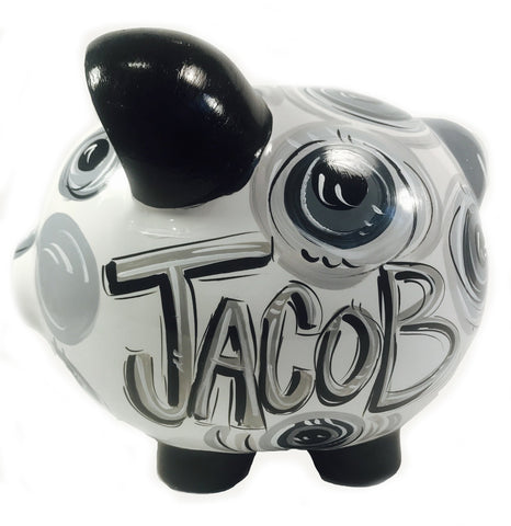 Piggy Bank, Black & Gray 'DOTS', Personalized, Ceramic Piggy Bank for Boy