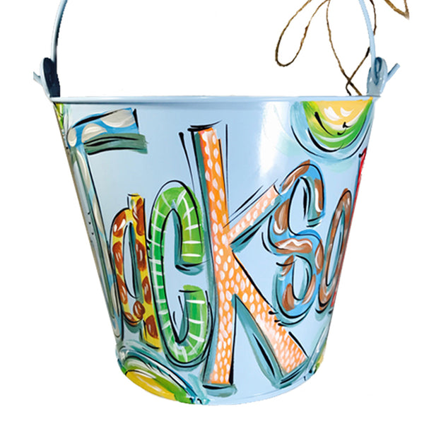 PAIL, Blue, Hand Painted Bucket, Personalized Pail