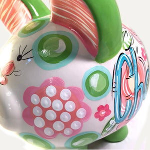 PIGGY BANK (Ceramic), Pinks and Greens, Personalized Piggy Bank for Girls