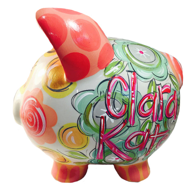 PIGGY BANK (Ceramic), Coral, Pink, Gray, Teal and Gold Piggy Bank for Girls