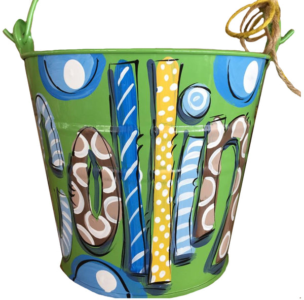 Personalized bucket for boys, Easter bucket, room decor