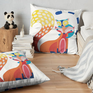 Throw Pillow, 'Pals, Fox & Lemur'