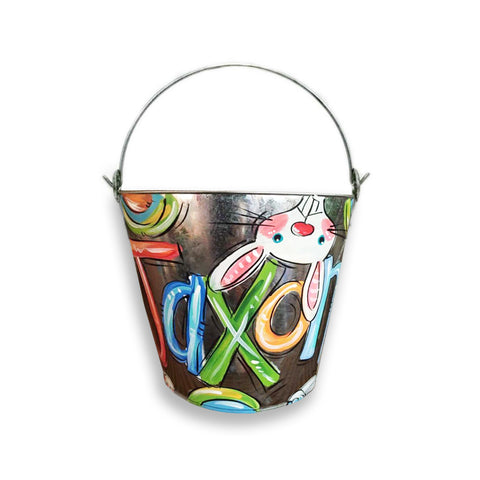 Galvanized, Hand Painted Bucket, Personalized Easter Pail